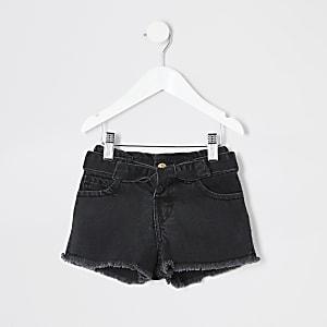 Mini - Mom - Zwarte denim short met geplooide taille voor meisjes
