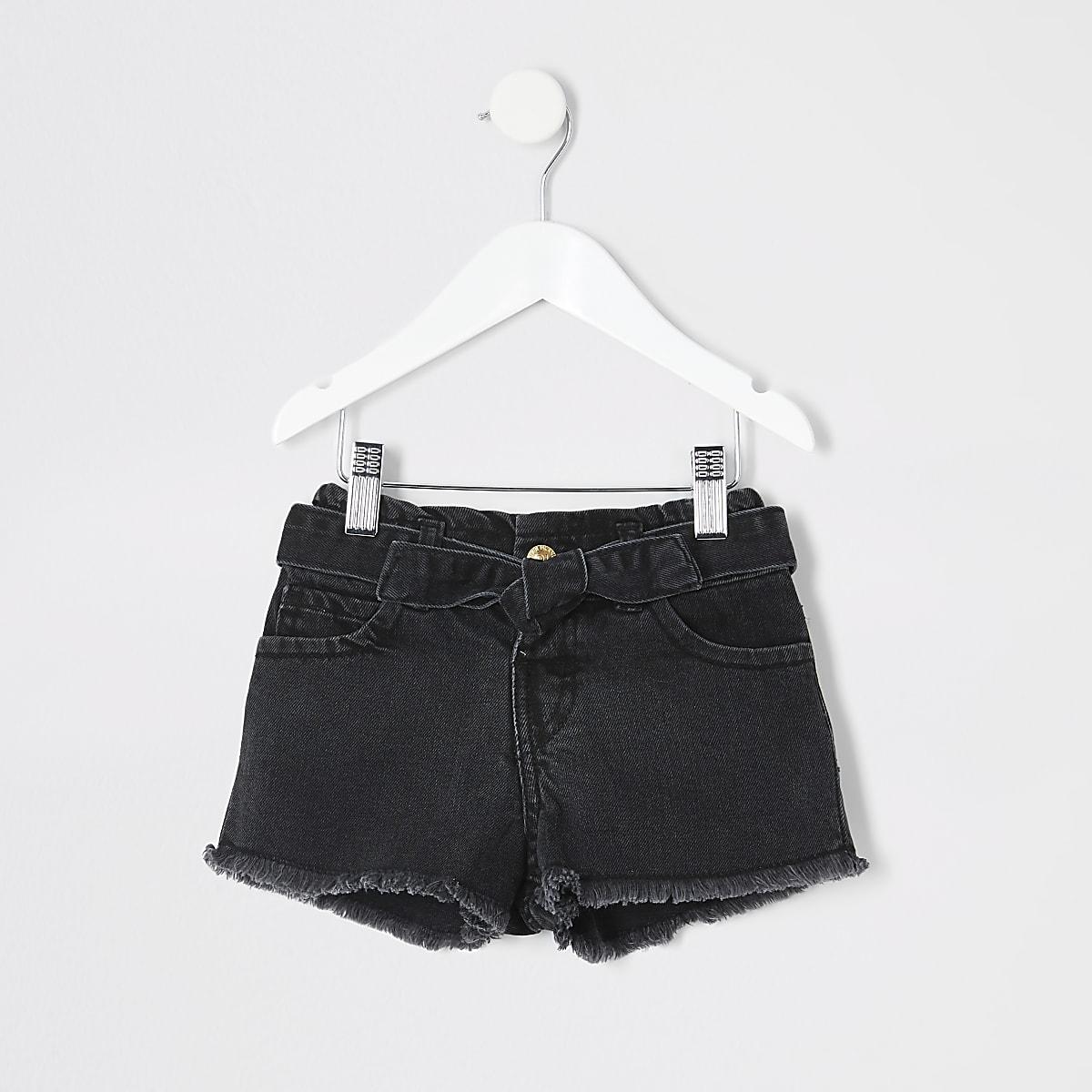 Schwarze Paperbag-Jeansshorts im Mom Fit für kleine Mädchen