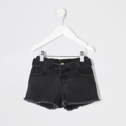 Mini girl black Mom paperbag denim shorts