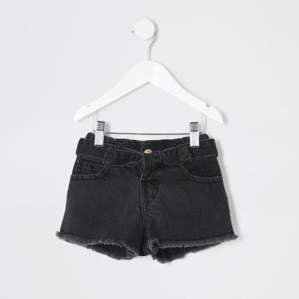Mini girl black Mom paperbag denim shorts