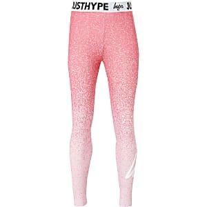 Hype – Leggings in Pink mit verblasstem Print und Tupfen