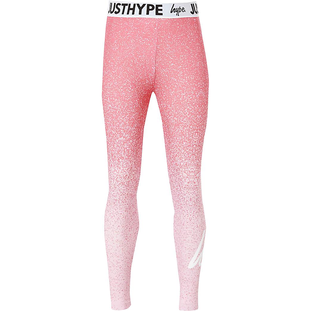 Girls Hype pink speckle fade printed leggings