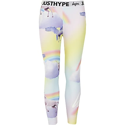 Girls Hype pink printed leggings