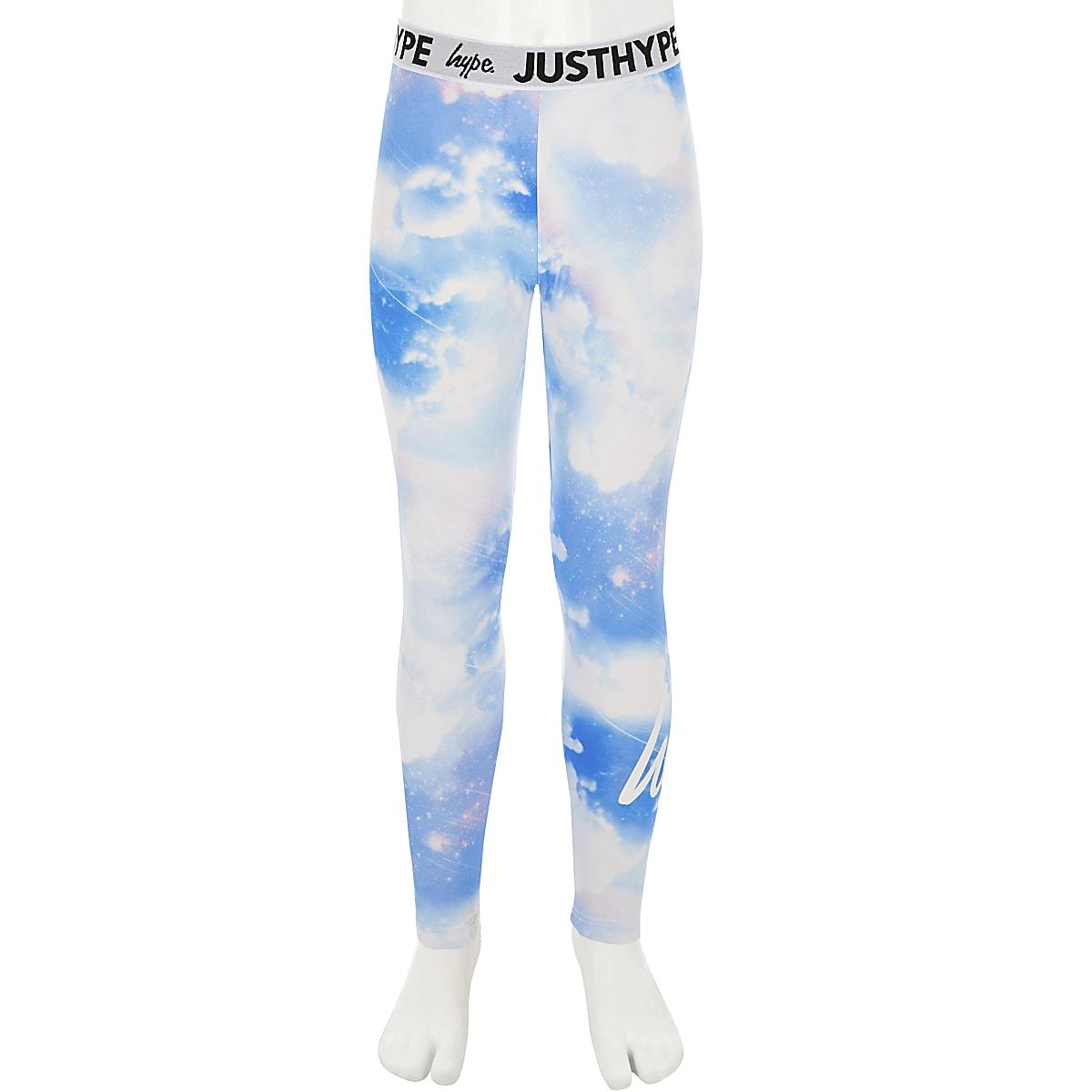 Girls Hype blue rainbow leggings