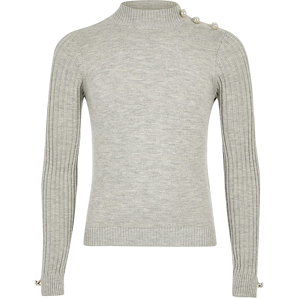 Girls grey ribbed knit high neck fitted top