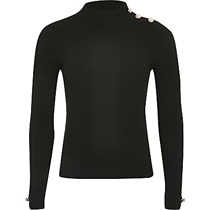 Girls black ribbed knit high neck fitted top