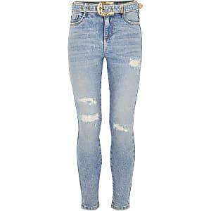 """Blaue Jeans """"Amelie"""" mit Westernschnalle für Mädchen"""