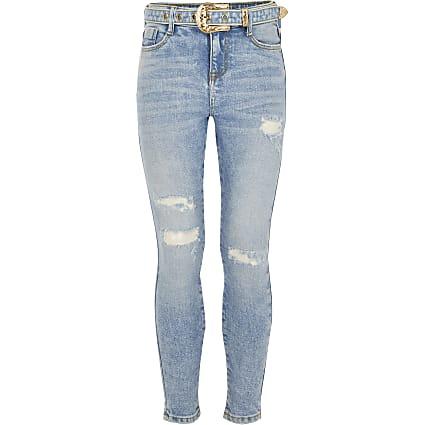 Girls blue Amelie western buckle jeans