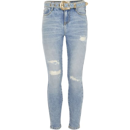 Girls blue Amelie western buckle jeans