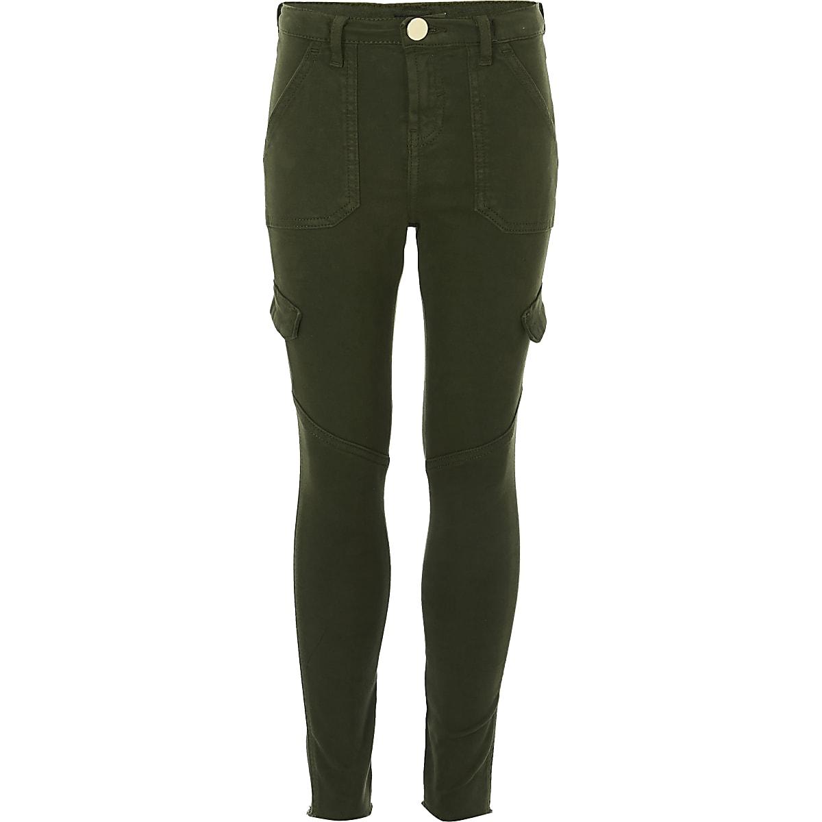 Girls khaki Amelie skinny jeans