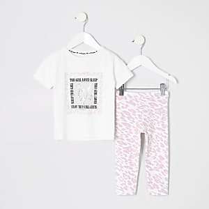 Mini - Pyjamaset met 'girl loves sleep'-tekst voor meisjes