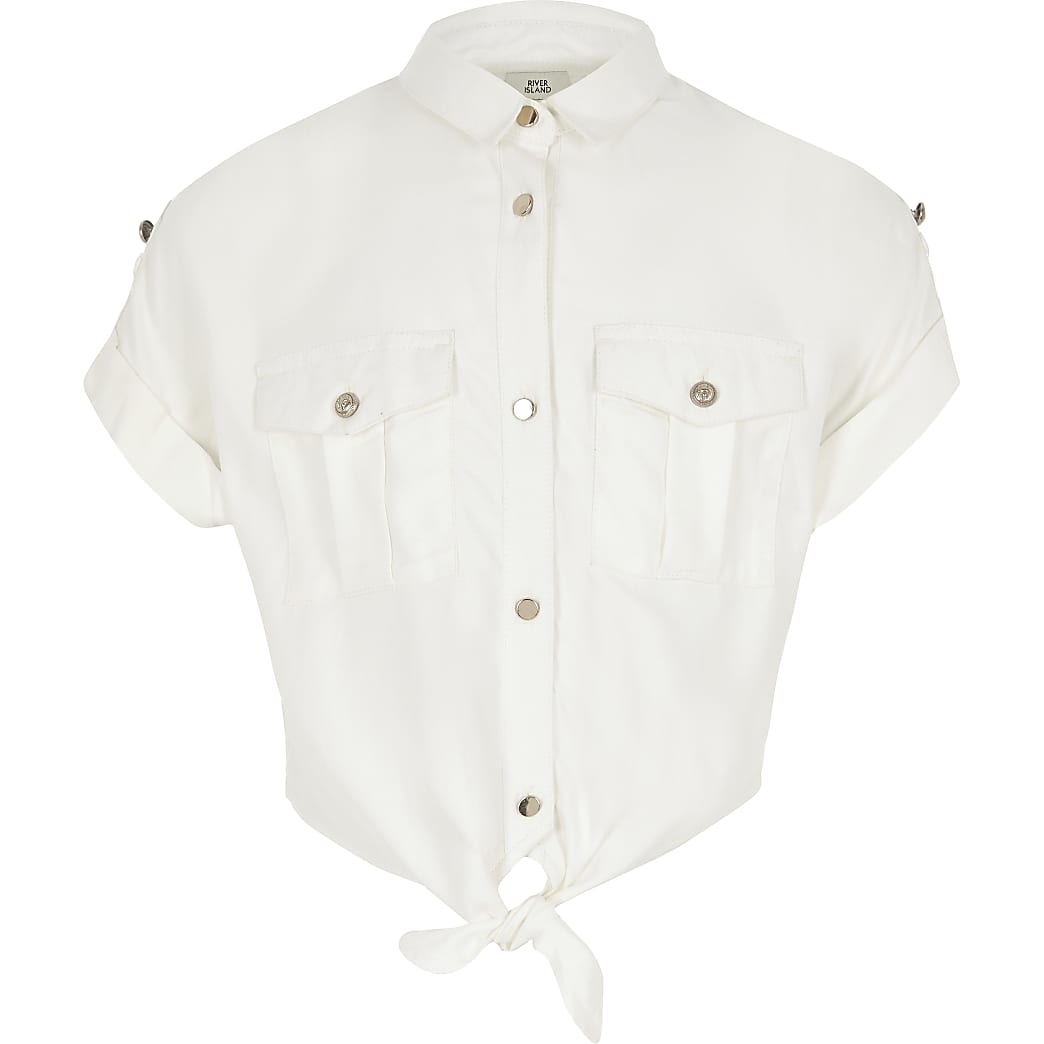 Girls white tie front cropped utility shirt