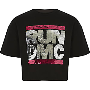 T-shirt « Run DMC » noir à sequins pour fille
