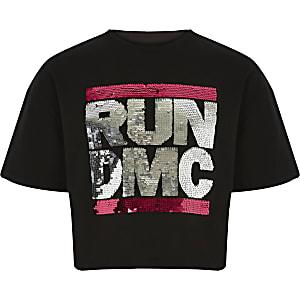 Zwart T-shirt met pailletten en 'Run DMC'-print voor meisjes