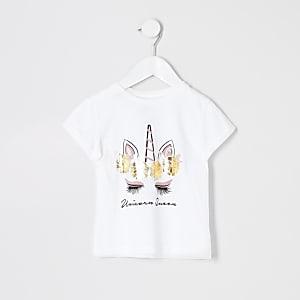 Mini - Wit T-shirt met eenhoornprint voor meisjes