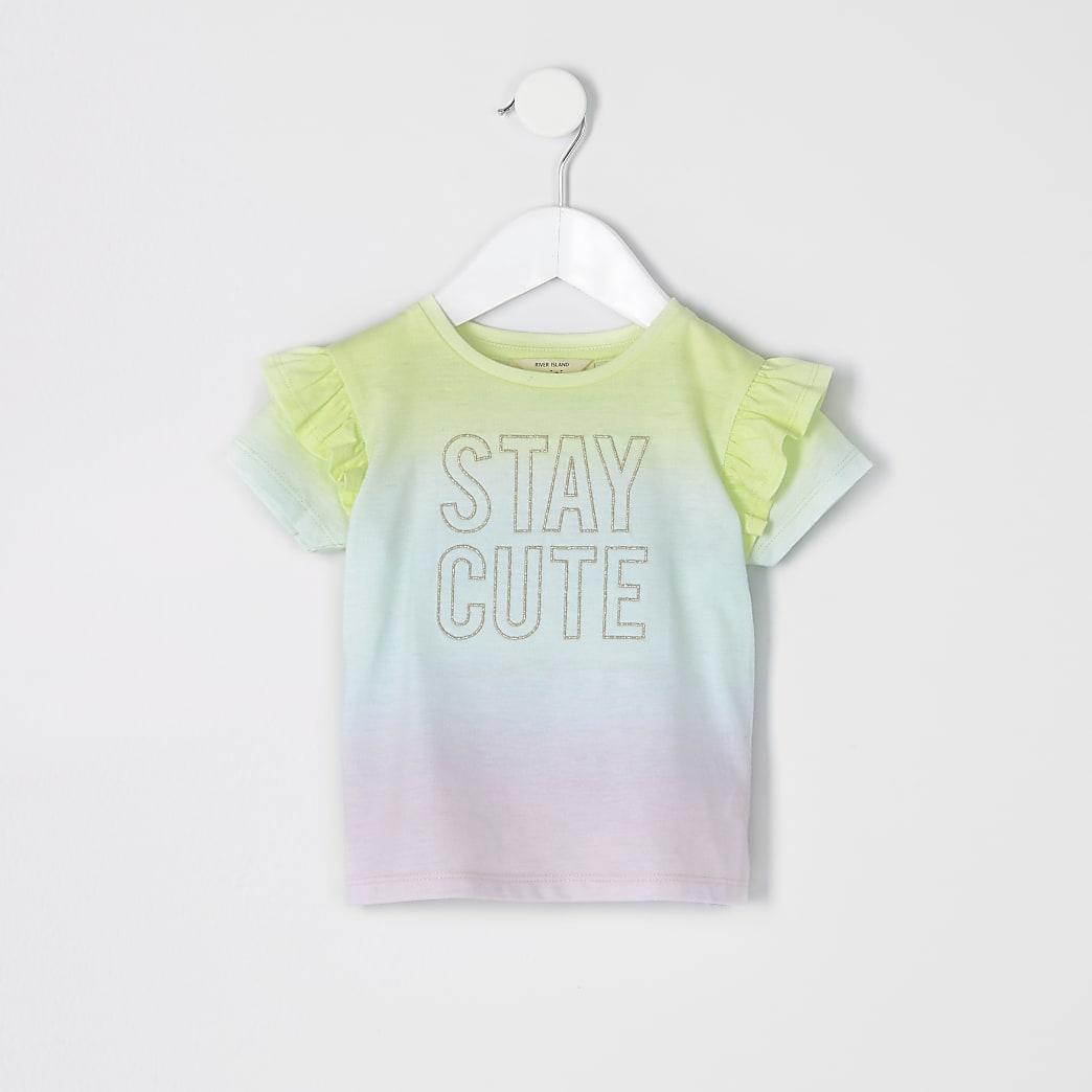 Mini girls pink multi 'Stay cute' T-shirt