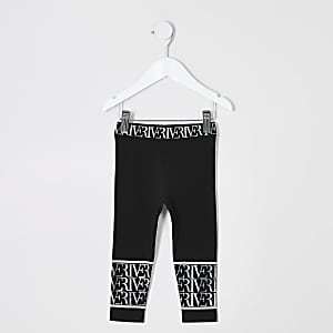 48e1e2c5edf2 Mini girls black RI printed leggings