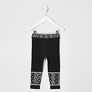 Mini - Zwarte legging met RI-print voor meisjes