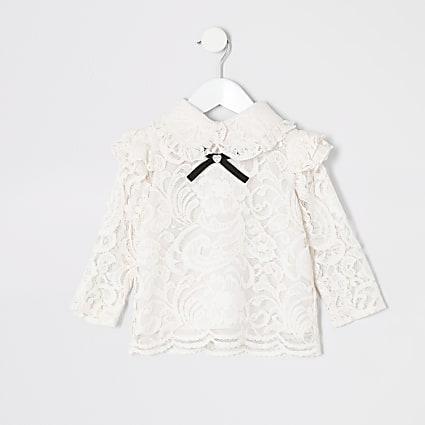 Mini girls pink lace bow collar top