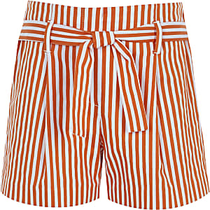 Girls orange stripe tie waist shorts