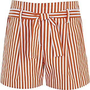 Girls orange stripe tie waist shorts