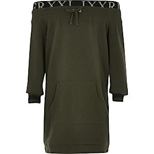 Schulterfreies Sweatshirt-Kleid in Khaki für Mädchen