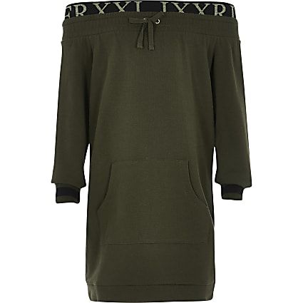 Girls khaki bardot sweatshirt dress