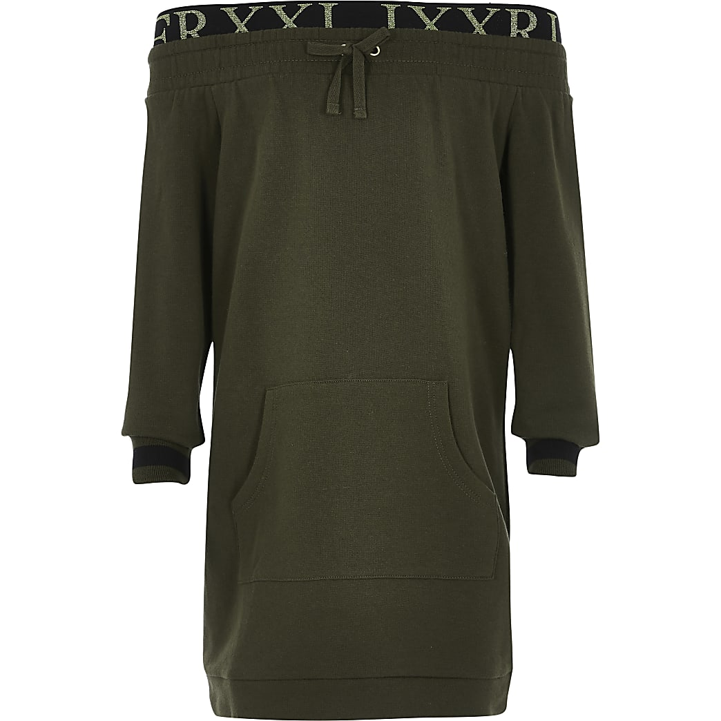 Girls khaki bardot sweatshirt dress