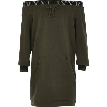 Girls khaki bardot sweat dress