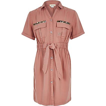Girls pink utility short sleeve shirt dress