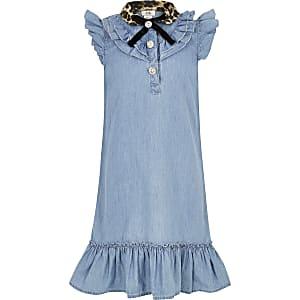 Robe en denim bleu avec col à imprimé léopard pour fille