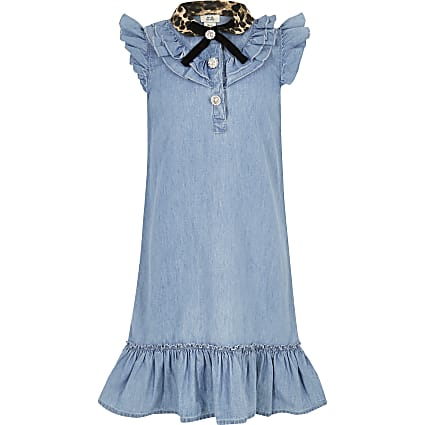 Girls blue leopard collar denim dress