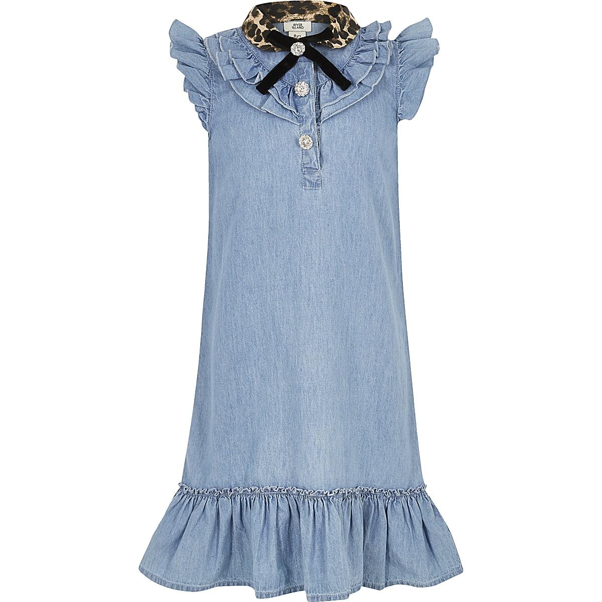 Girls blue leopard collar denim dress