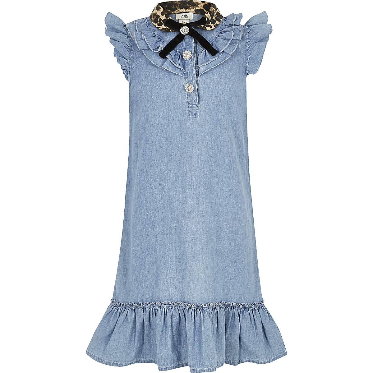 Blauwe denim jurk met luipaardprinthals voor meisjes
