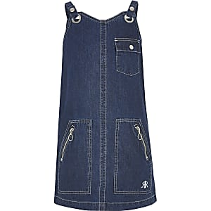 Girls blue dark denim utility pinny dress