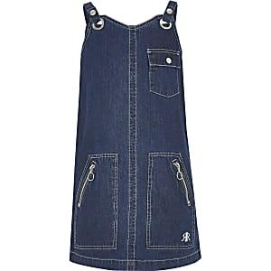 Robe chasuble fonctionnelle en denim bleu foncé pour fille