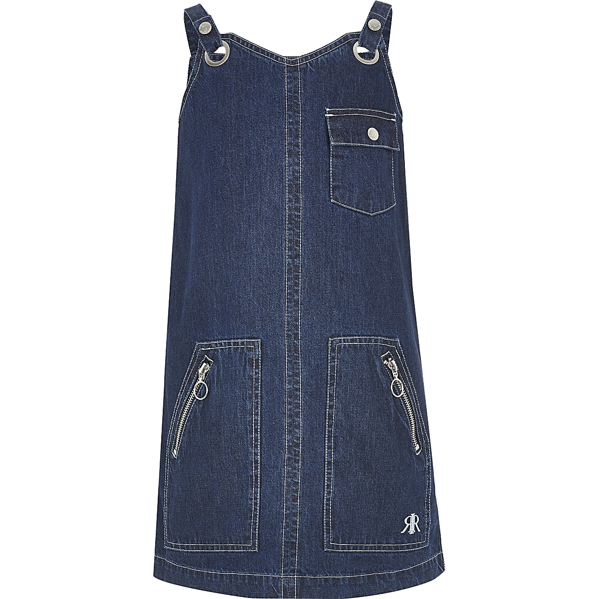 Girls blue dark denim utility pinafore dress