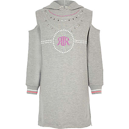 Girls grey cold shoulder jumper dress