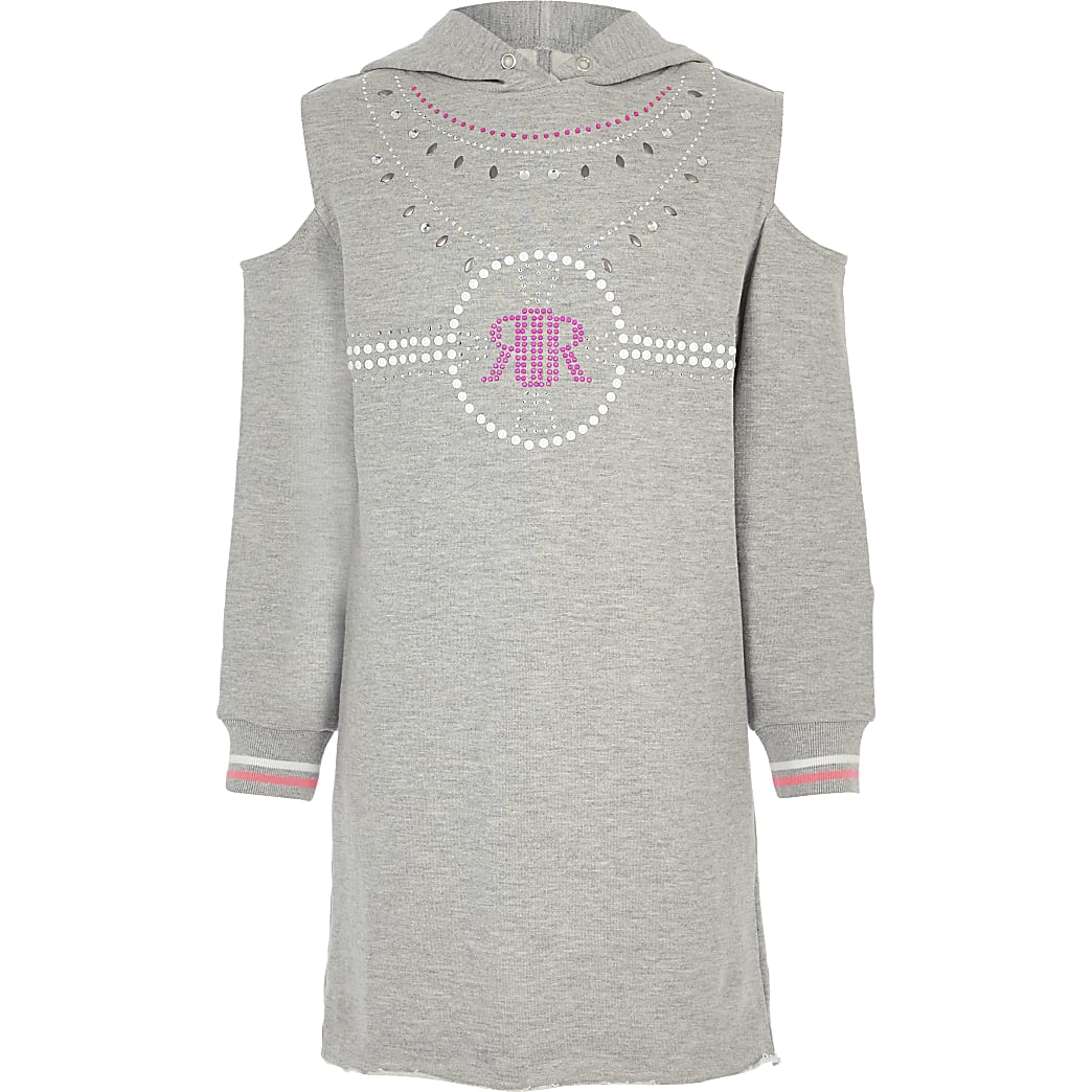 Girls grey cold shoulder jumper dress