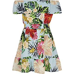 Blaues Bardot-Kleid mit tropischem Muster