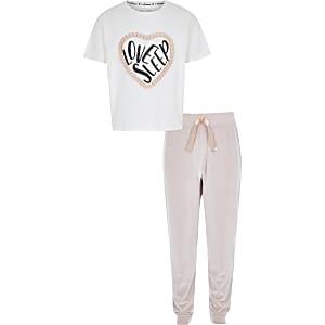 Girls pink 'Love sleep' velvet pyjama set