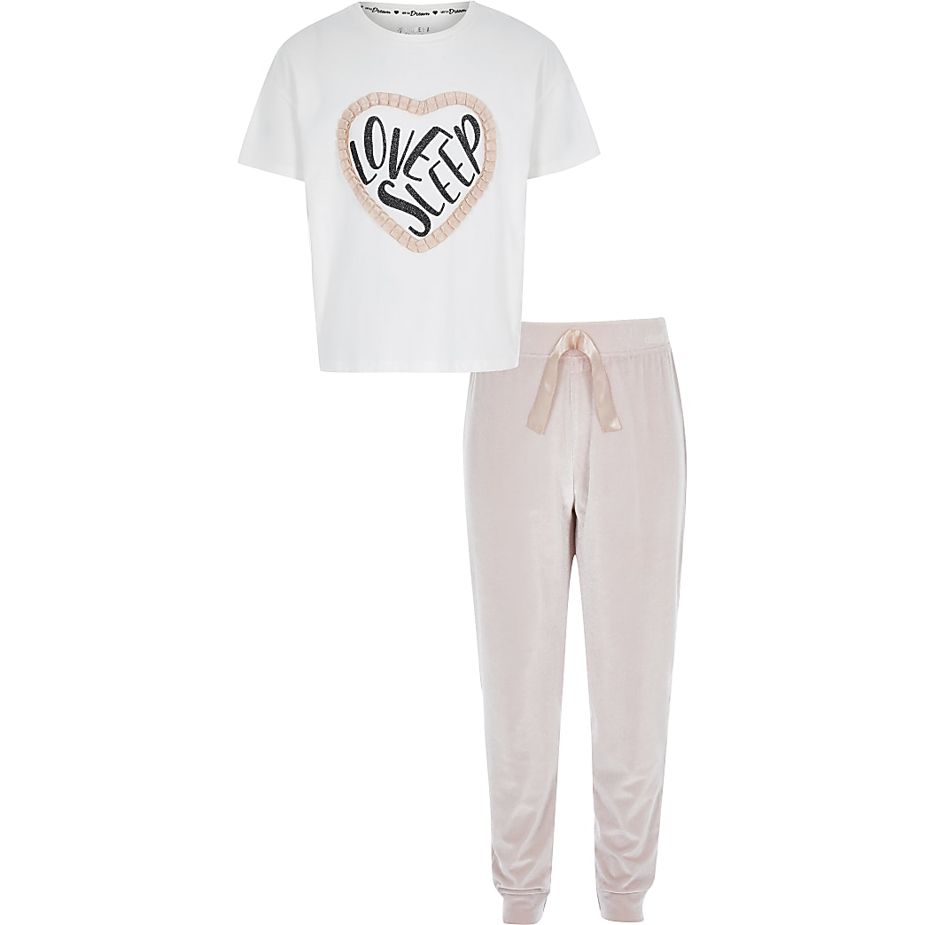 Girls pink 'Love sleep' velvet pyjama set