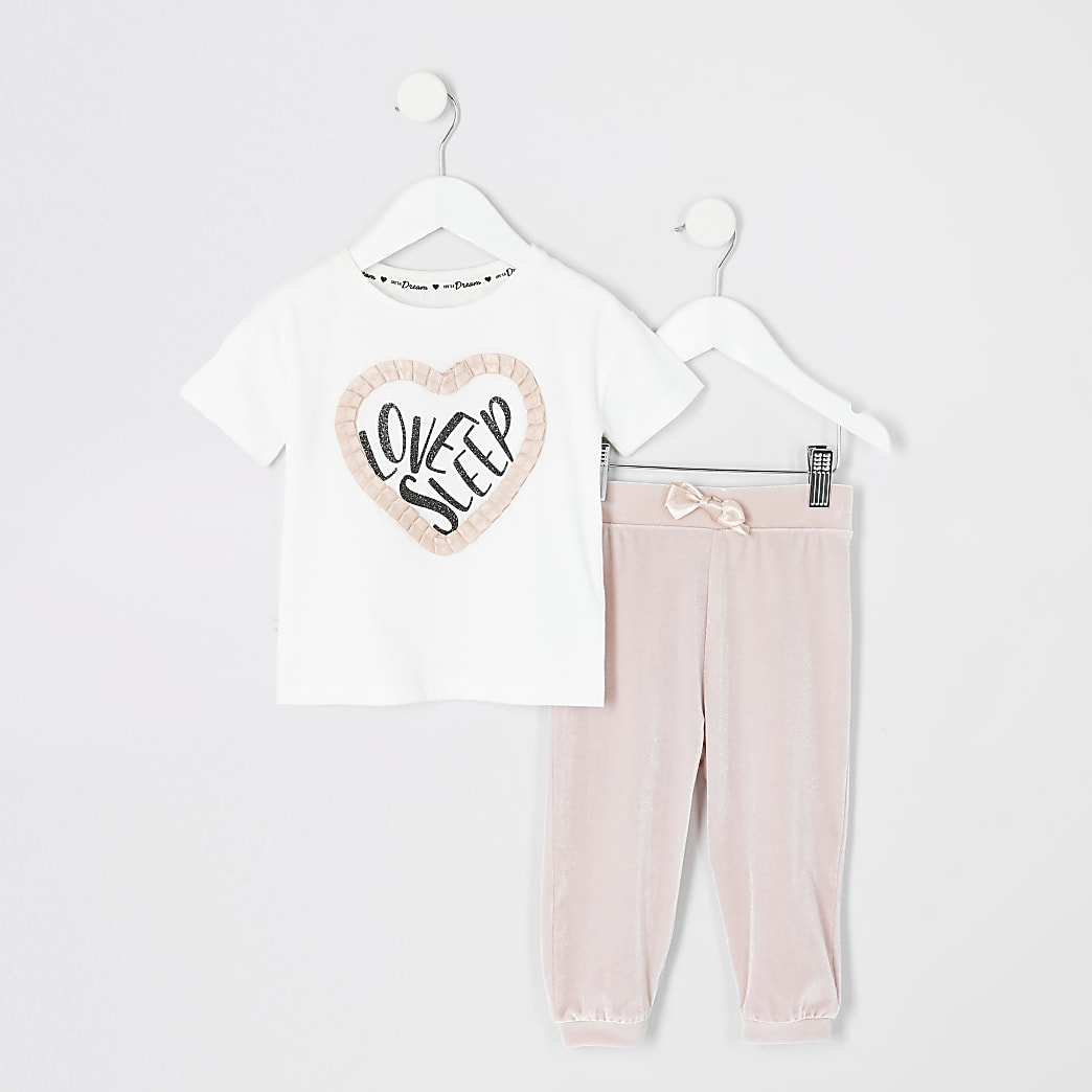 Mini - Roze pyjama met 'Love sleep'-tekst voor meisjes