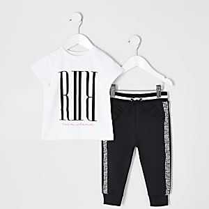 Mini girls white jumbo T-shirt outfit