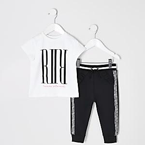 Mini - Wit jumbo T-shirtoutfit voor meisjes