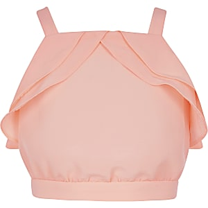 Girls coral ruffle crop top