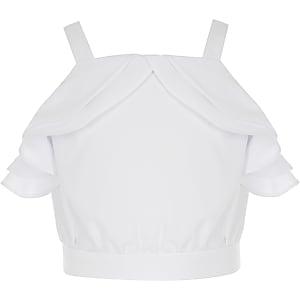 Girls white ruffle crop top