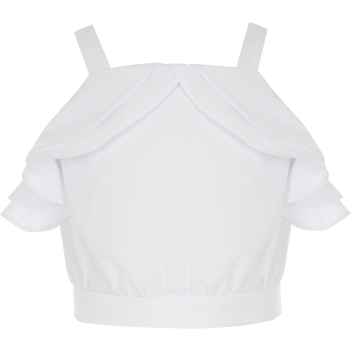 Girls white ruffle crop top
