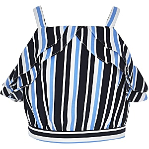 Girls blue stripe ruffle crop top
