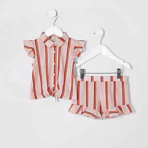 Mini - Outfit met roze gestreepte blouse voor meisjes